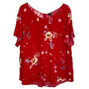 Torrid Red Floral Button Back Blouse Sz 2 2X